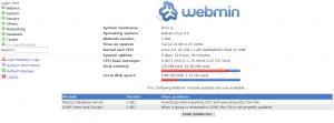 Главная страница Webmin